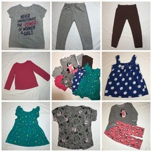 9-Piece Lot of Girls' 3T Well-Loved Play Clothing
